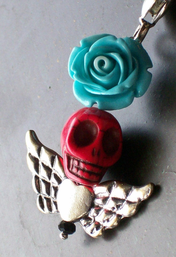 Rockabilly Red Skull and Rose Pendant Keychain