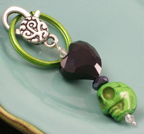 Black Heart and Zombie Green Sugar Skull Pendant Keychain