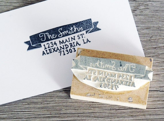 Personalized Address Stamp, Rectangle, Rubber Stamp, Banner Address Stamp