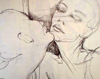 the Mirror - original pencil drawing
