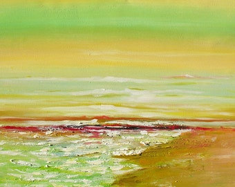 Original Painting oil on canvas palette Knife abstract painting Colorful Bright Sunny Abstract Orange Green Beach Seascape ART by Marchella