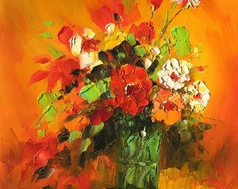 ORIGINAL Oil Painting MADE2ORDER Palette Knife Colorful Flowers Yellow Orange Red Vase Handmade Home Office decor Bouquet Art by Marchella