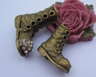 2pc Antique bronze  Big shoes Small shoes Charm pendants