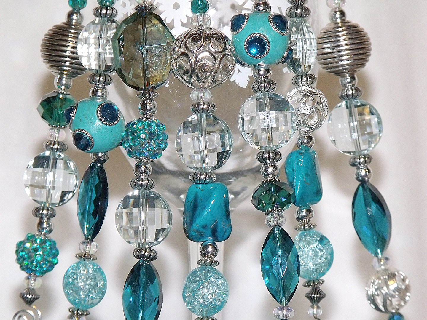 Bead Christmas Ornaments Turquoise Blue and Silver Icicles