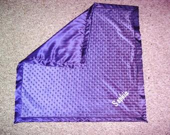 """Personalized Purple Minky Satin 30"""" x 30"""" baby Blanket"""