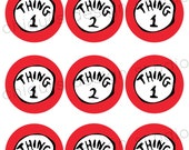 Dr. Seuss Thing 1 and 2 -  2.5 inch NON Personalized Party Tags - Chiqui's Design Studio