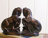 Bookends Metal Bronze Colored Rearing Horses Art Deco