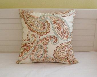 Kravet Curvy Paisley Designer Pillow Cover in Aqua and Coral