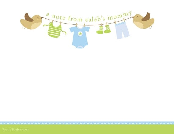 Items similar to Clothesline Baby Boy Thank you cards on Etsy