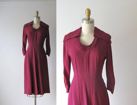 vintage 1940s dress / 40s dress / Deep Bordeaux