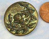 Rose Antique Button Victorian Button 1 Inch Ornate Floral Brass Button 113