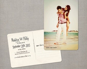 "Save the Date Post Card, 4x6, Save the Date, the ""Madelyn 3"""