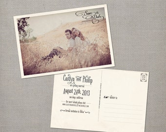 "Save the Date Card / Save the Date Postcard / Vintage Save the Date Card / Vintage Save the Date Postcard - the ""Caitlyn"""