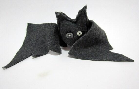 Grey Fleece Stuffed Bat Plush, Ophelia