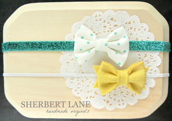 Baby Headband Set - Cream and Teal Polka Dot Fabric Bow - Mustard Yellow Felt Bow