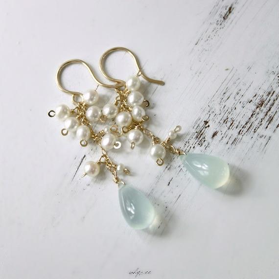 EYELET - blue chalcedony pearl gold earrings