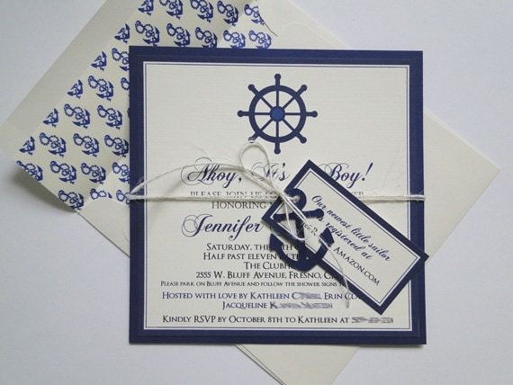 anchor invitations for nautical baby shower or birthday made to