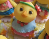 Hippie Chicks Cupcake Toppers (6 Chicks, 1 Birthday Message Plate)