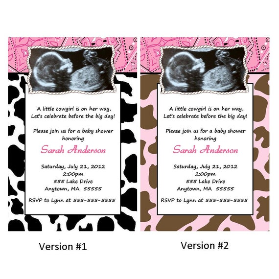 Western Cowgirl Baby Shower Invitation You Print Bandana