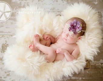 Lavender Baby Headband - Small Lavender Flower Headband - Newborn Baby to Adult