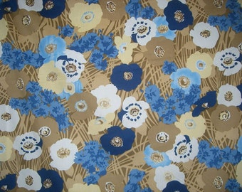 SPECIAL--Blue and Beige Floral Print Stretch Cotton Poplin Fabric--ONE YARD