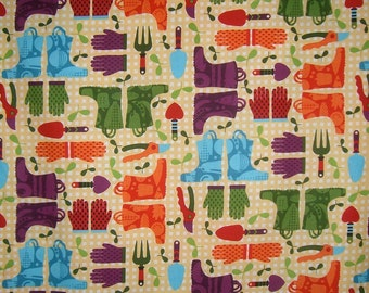 REMNANT--Garden Accessories Print Pure Cotton Fabric--2 & 7/8 Yards