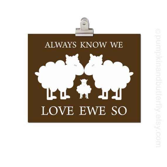 Kids Wall Art, Children's Art Print Poster, Valentine Print, Lamb, Ewe, Sheep, Neutral, Brown, Love Ewe So, Gender Neutral Nursery Decor