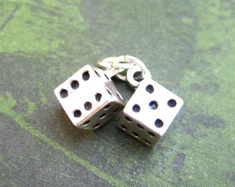Sterling Silver Set of Dice Pendant Charm