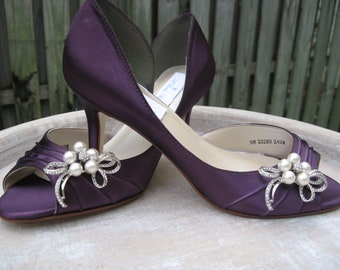 Purple Eggplant Bridal Shoes with Pearl and Crystal Bow Brooch - Over 100 Color Shoe Choices to Pick From