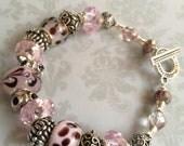 Purple Swirl - Lovely Pink and Purple Beaded Bracelet