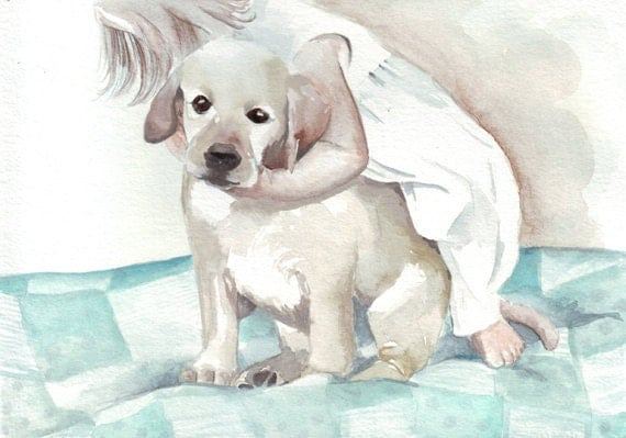 original watercolor painting little girl hug labrador