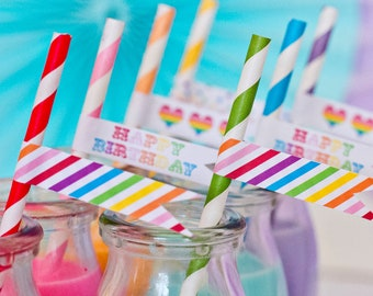 Rainbow Party Straw Flags - Printable