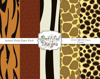 Animal Print Digital Paper pack for Digital Scrapbooking, Photography, Card Making, Commercial Use