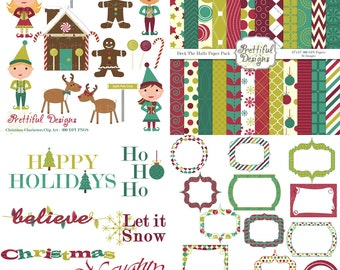 Christmas Digital Scrapbook Kit with Papers, Frames, and Clip Art - Deck The Halls Kit 1