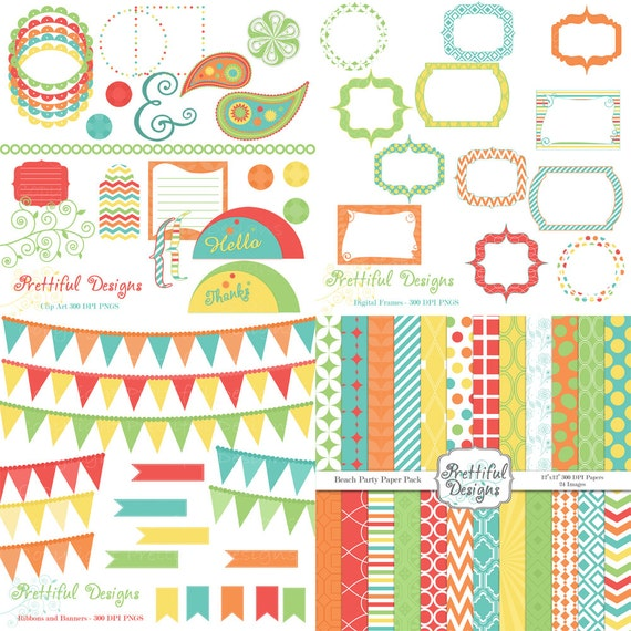 50% Off SALE Digital Scrapbook Kit Scrapbooking Paper Digital Frame Clip Art  79 Items Beach Party (491) (454) (492) (447)