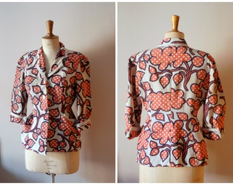 vintage 1940s floral suit jacket / 40s fitted blazer