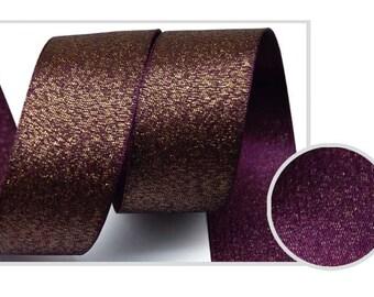 5Yards Metallic Sparkle Grape Satin Ribbon - 15mm(5/8'') , and 25mm(1'') - Glitter Ribbon