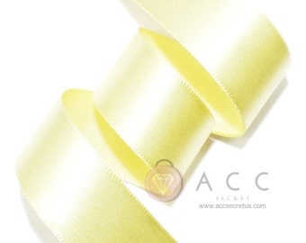 Pale Yellow Single Faced Satin Ribbon - 5mm(2/8''), 10mm(3/8''), 15mm(5/8''), 25mm(1''), 40mm(1 1/2''), and 50mm(2'')
