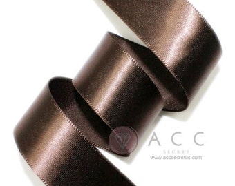 5Yards Brown Single Faced Satin Ribbon - 5mm(2/8''), 10mm(3/8''), 15mm(5/8''), 25mm(1''), 40mm(1 1/2''), and 50mm(2'')