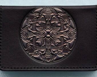 Leather Business Card Case / Pewter Coloured Mandala on Black