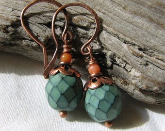 teal, peach, and copper dangle earrings