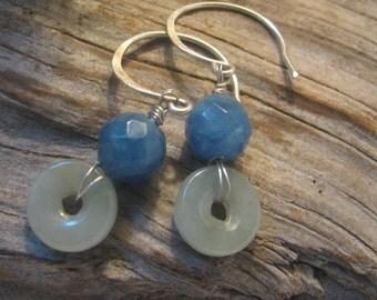 blue quartz and green jade dangle earrings