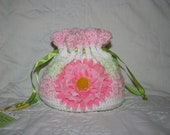 Pink, Lime Green and White Drawstring Purse