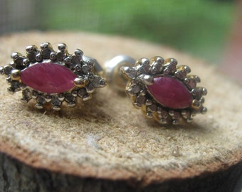 Vintage Gold Plated Over Sterling Silver Ladies Earrings with Rubies and Diamonds with Backs