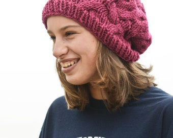 Very Cute Raspberry Cable Knit Slouch Hat