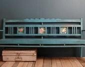 SALE Restored Antique Indian Distressed Blue Indoor Outdoor Teak Wood Bench