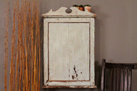 Reserved for Michelle. Distressed Painted Shabby Chic Light Blue Hanging Cabinet/Medicine Chest/Spice Rack