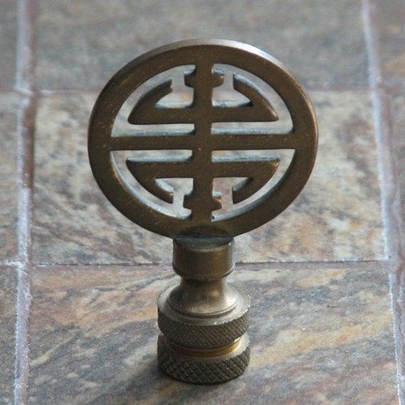 Vintage Brass Lamp Finial Asian Design