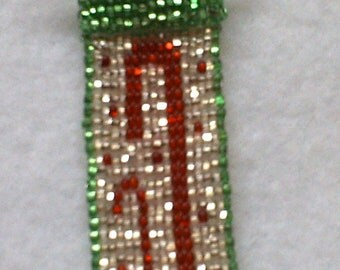Hand beaded Candy Cane Stocking Ornament - Free Shipping