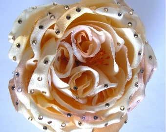 SALE- Large Ivory and Dusty Rose hair flower